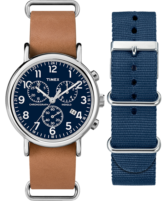 Weekender Chronograph 40mm  Tan Strap/Blue Dial Gift Set  large