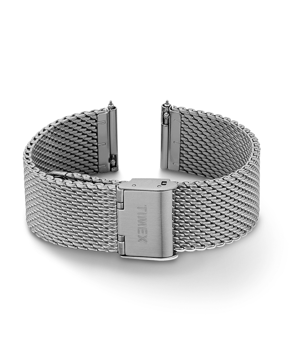 20mm Quick Release Leather Strap Silver-Tone large