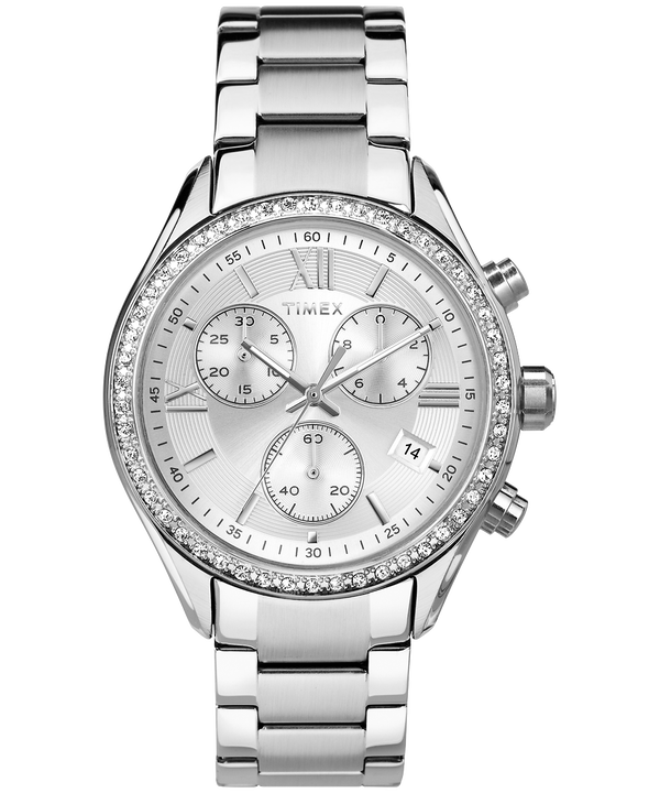Miami With Swarovski® Crystals 38mm Bracelet Watch  Stainless-Steel/Silver-Tone large