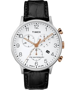 Waterbury Classic Contactless 40mm Leather Strap Watch black-white-rose-gold-tone large