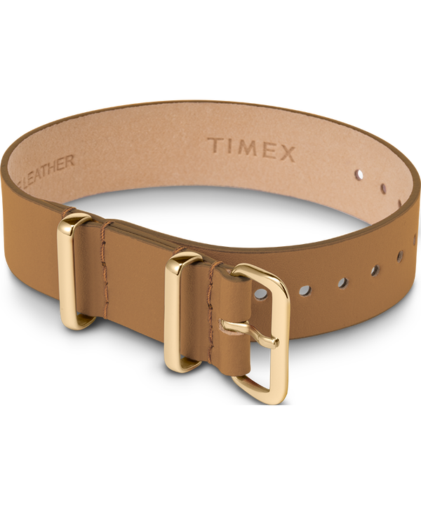 16mm Leather Single Layer Slip Thru Strap with Gold Tone  large