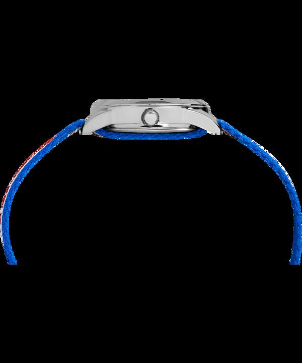 Kids Analog 30mm Nylon Strap Watch Silver-Tone/Blue (large)