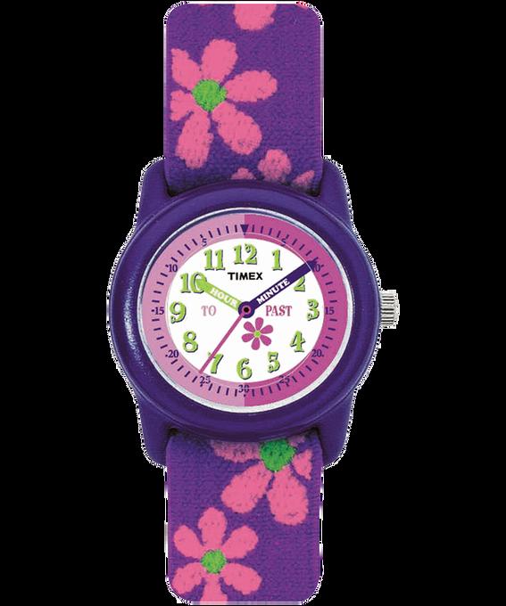 Girls Kids Analog 29mm Elastic Fabric Watch Purple/White large