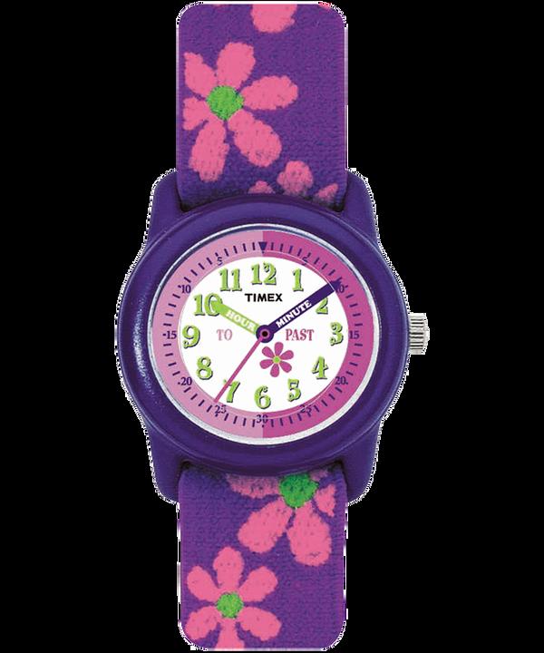 Kids Analog 29mm Elastic Fabric Strap Watch Purple/White large