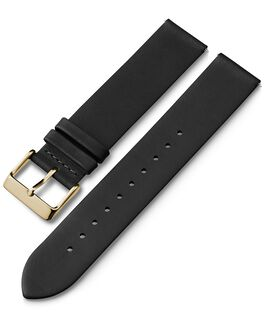 20mm Gold Buckled Quick Release Leather Strap Black large