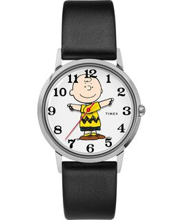 Timex x Peanuts Exclusively for Todd Snyder Featuring Charlie Brown 34mm Leather Strap Watch Stainless-Steel/Black/Gray large