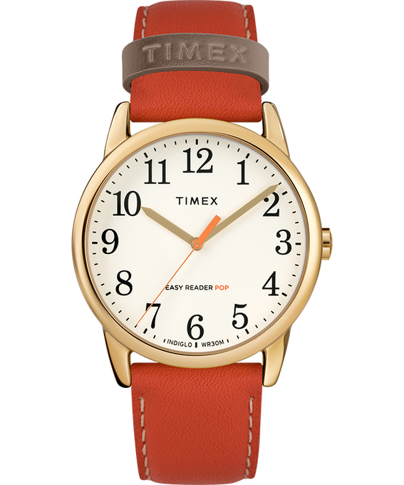 Easy-Reader-38mm-Exclusive-Color-Pop-Leather-Womens-Watch Gold-Tone/Orange/Cream large