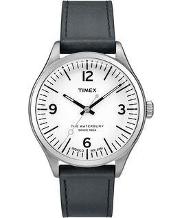 Waterbury Traditional 38mm Leather Strap Watch Stainless-Steel/Black/White large