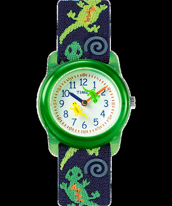 Kids Analog 29mm Elastic Fabric Strap Watch Green/Blue/White large