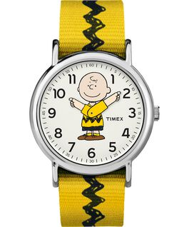 Charlie Brown 38mm Nylon Strap Watch  Silver-Tone/Yellow/White large