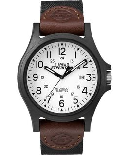 Expedition Metal Field 40mm Fabric Strap Watch Black/Brown/White large