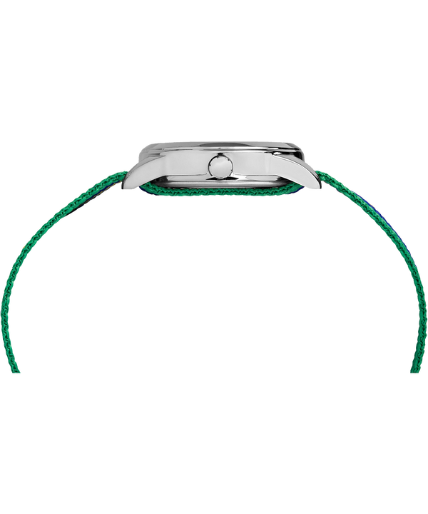 Kids Analog 30mm Nylon Strap Watch Silver-Tone/Green/White large
