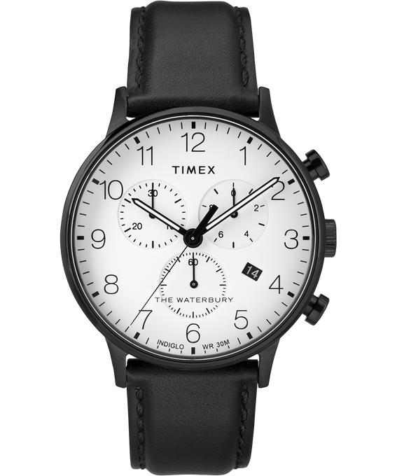 Waterbury 40mm Classic Chrono Leather Strap Watch Black/White large