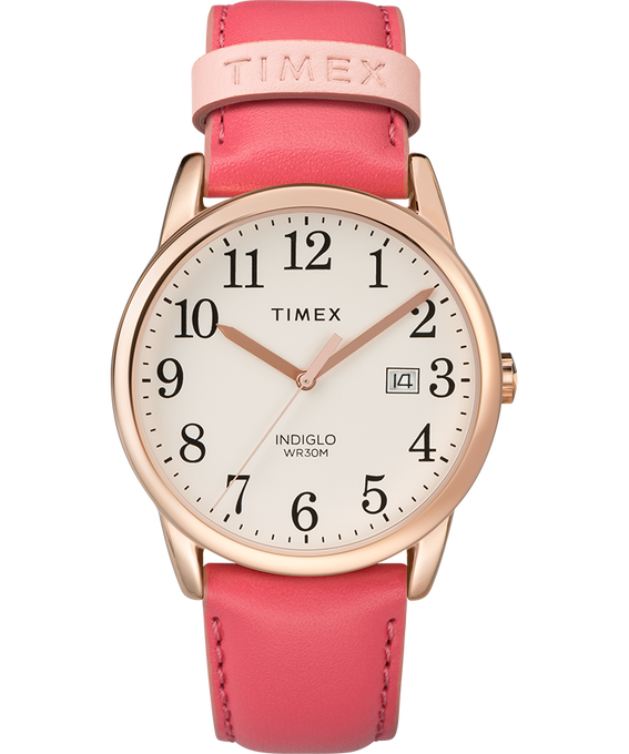Easy Reader Color Pop 38mm Leather Strap Watch Rose-Gold-Tone/Pink/Cream large