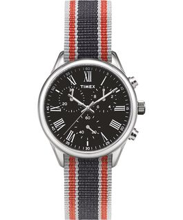 Weston Avenue 38mm Grosgrain Strap Watch Stainless-Steel/Black large