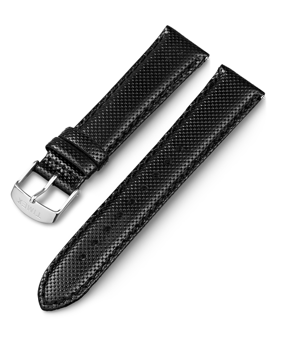 20mm iQ Textured Leather Strap Black large