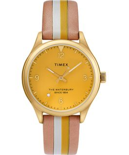 Waterbury Traditional Womens 34mm Leather Strap Watch with Stripe Gold-Tone/Tan/Yellow large