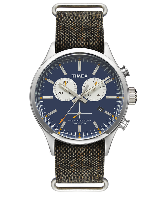 Waterbury Chronograph 42mm Stonewashed Fabric Strap Watch  large