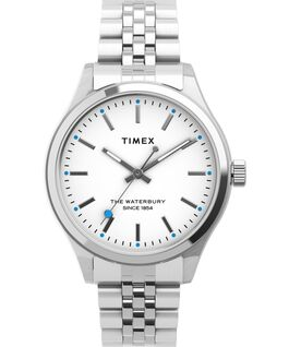 Waterbury Neon 34mm Stainless Steel Bracelet Watch Stainless-Steel/White large