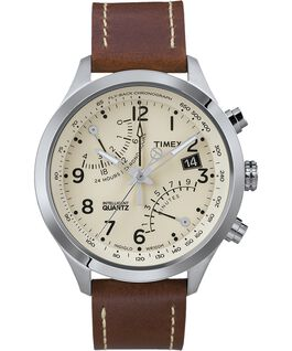 Intelligent Quartz Flyback Chronograph 43mm Leather Watch Stainless-Steel/Brown/Cream large