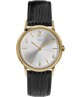 Marlin® 34mm Hand-Wound Leather Strap Watch Black/Gold-Tone large