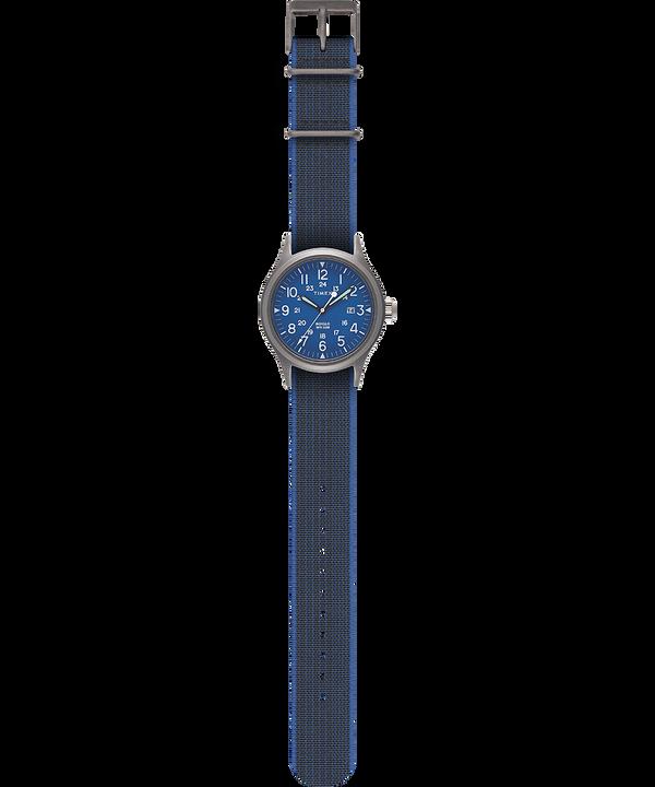 Allied 40mm Elastic Fabric Strap Watch Silver-Tone/Black large