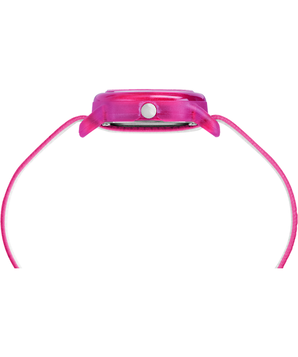 Kids Analog 28mm Elastic Fabric Strap Watch Pink/White large