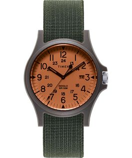 Acadia 40mm Elastic Fabric Strap Watch Black/Green/Orange large