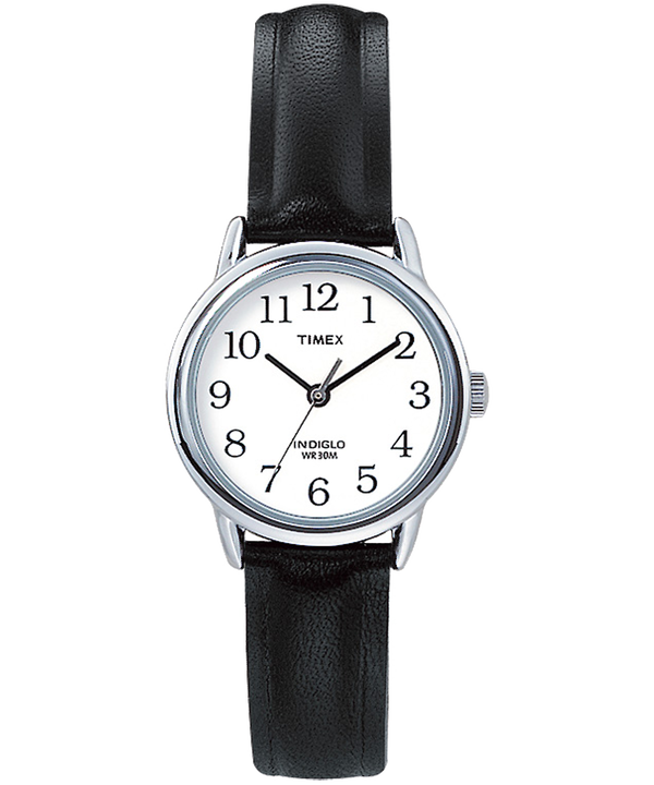 Easy Reader 25mm Leather Strap Watch Silver-Tone/Black/White large