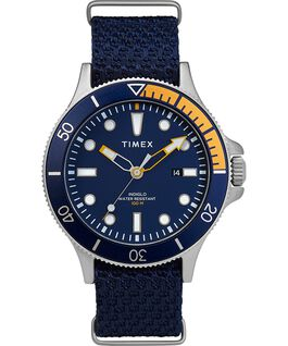 Allied Coastline 43mm with Rotating Bezel Fabric Strap Watch Silver-Tone/Blue large