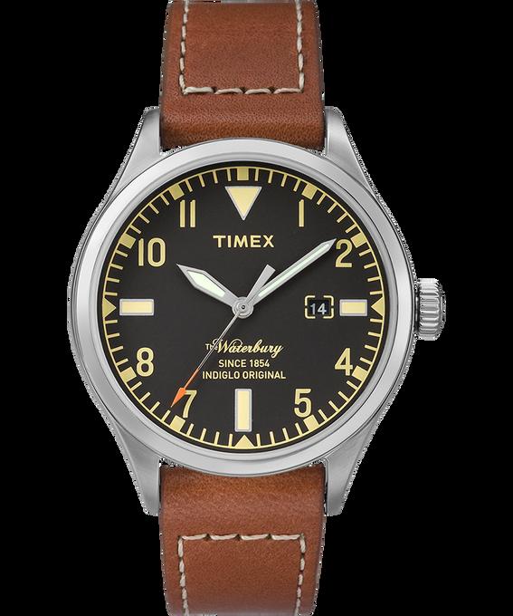 Waterbury 40mm Leather Watch Stainless-Steel/Brown/Black large