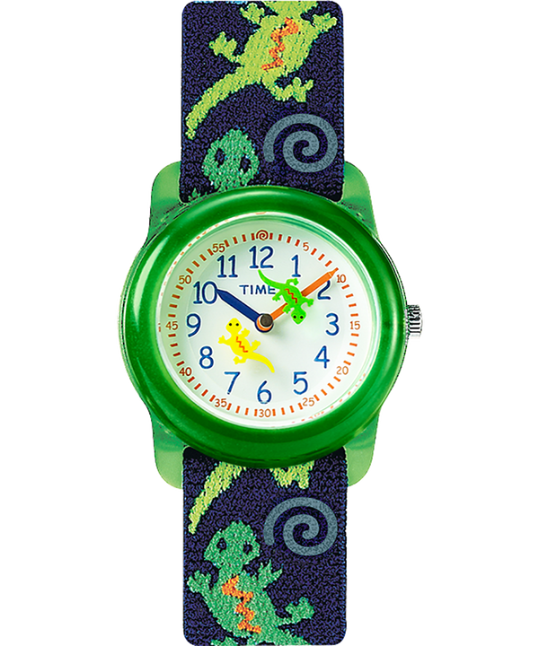 Kids Analog 29mm Elastic Fabric Strap Watch Green/Blue/White (large)