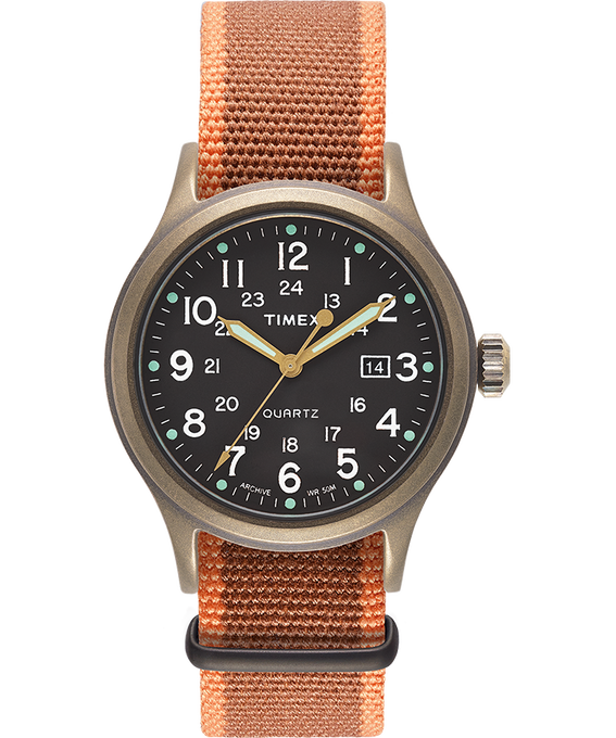 Allied 40mm Fabric Strap Watch with Dot Markers Bronze-Tone/Black large