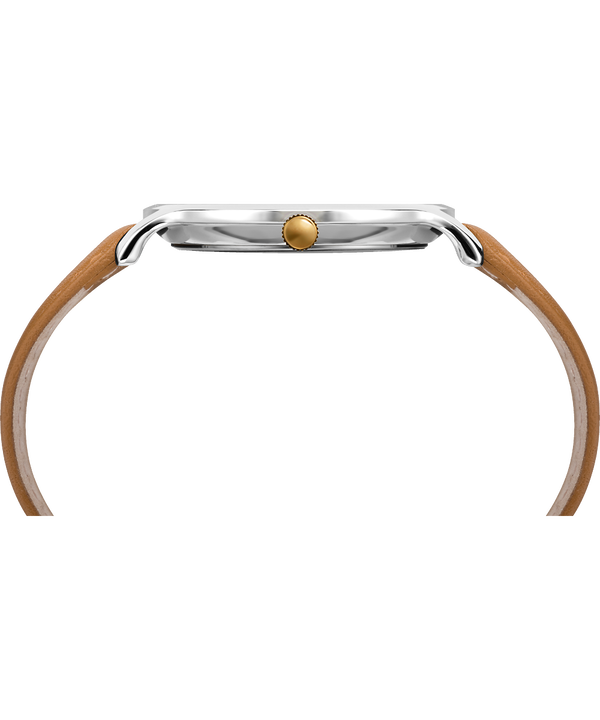 Metropolitan 40mm Leather Watch Silver-Tone/Brown/Gray large