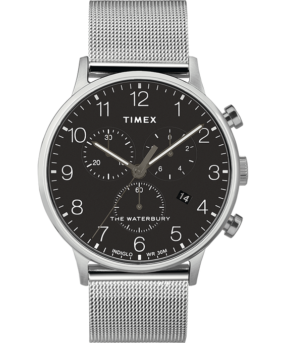 Waterbury 40mm Classic Chrono Mesh Bracelet Watch Stainless-Steel/Black large