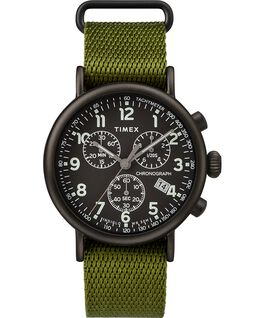Standard Chronograph 41mm Fabric Strap Watch Black/Green large