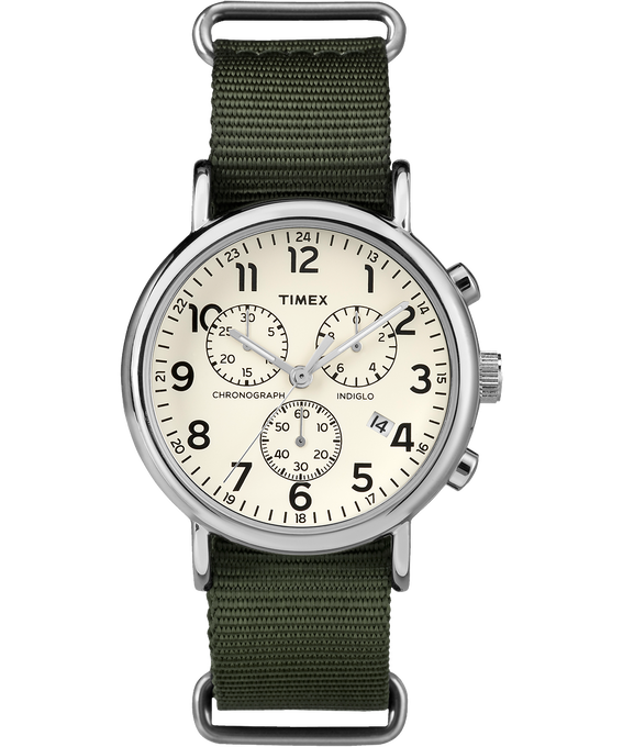 Weekender Chrono 40mm Nylon Strap Watch Silver-Tone/Green/Cream large