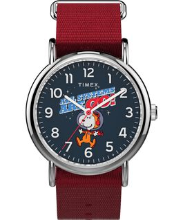Timex x Space Snoopy Weekender 38mm Fabric Strap Watch Silver-Tone/Red/Blue large
