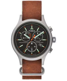 Archive Allied Chronograph 42mm Leather Strap Watch Silver-Tone/Brown/Black large