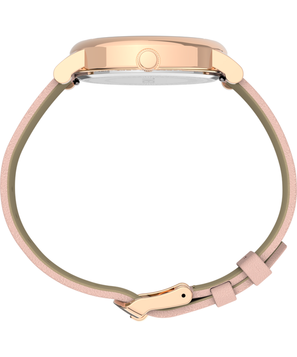 Full Bloom with Swarovski® Crystals 38mm Leather Strap Watch Rose-Gold-Tone/Pink/White large