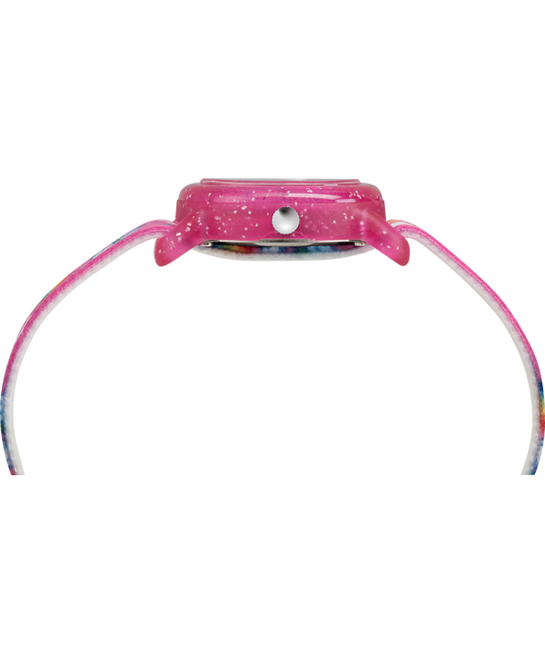 Kids Analog 28mm Elastic Fabric Strap Watch Pink/White large