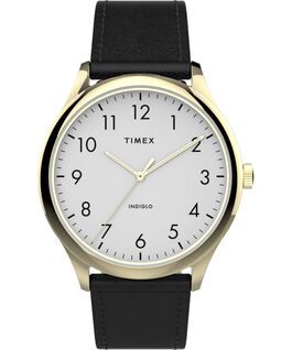 Modern Easy Reader 40mm Leather Strap Watch Gold-Tone/Black/White large