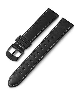 18mm Leather with White Stitching Strap Black large