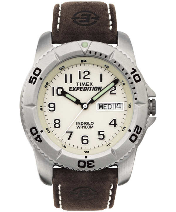 Expedition Traditional 40mm Leather Strap Watch Silver-Tone/Brown/Natural large