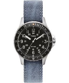 Navi Ocean 38mm Reversible Stonewashed Fabric Strap Watch Black/Blue large