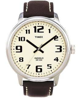 Easy Reader43mm Leather Strap Watch Silver-Tone/Brown/Natural large