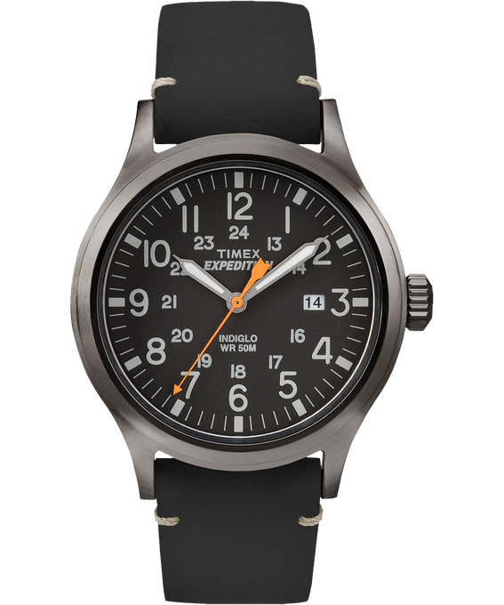 Expedition Scout 40mm Leather Watch Gray/Black large