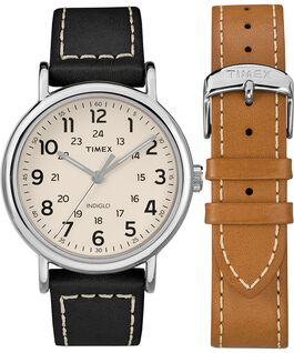 Weekender 40mm 2 Piece Leather Strap Watch Gift Set Chrome/Black/Cream large