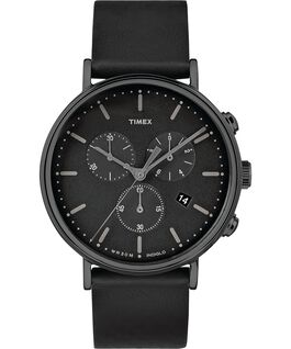 Fairfield Contactless Chronograph 41mm Leather Strap Watch Black large