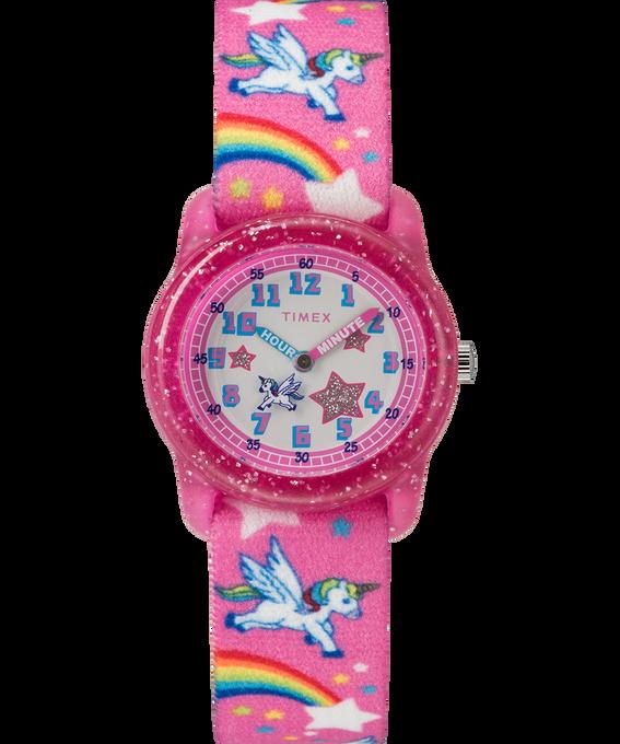 Kids Analog Strap Watch with Pattern Pink/White large